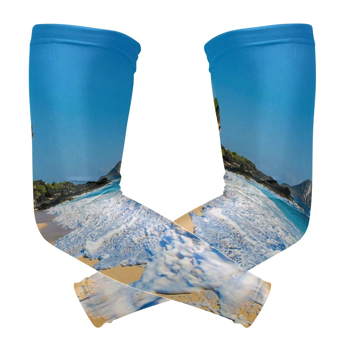 Arm Sleeves Hawaii Beach Foam Mens Sun UV Protection Sleeves Arm Warmers Cool Long Set Covers