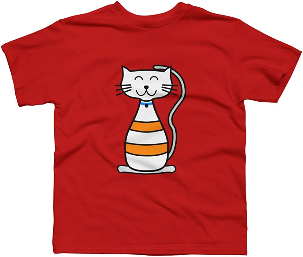 Design By Humans Kids Kitty Cat Boys Youth Graphic T Shirt