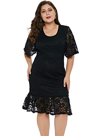 ecf32893ed4 Paitluc Women Plus Size Floral Lace Short Long Sleeve Maxi Evening Wedding  Party Dress at Amazon Women s Clothing store