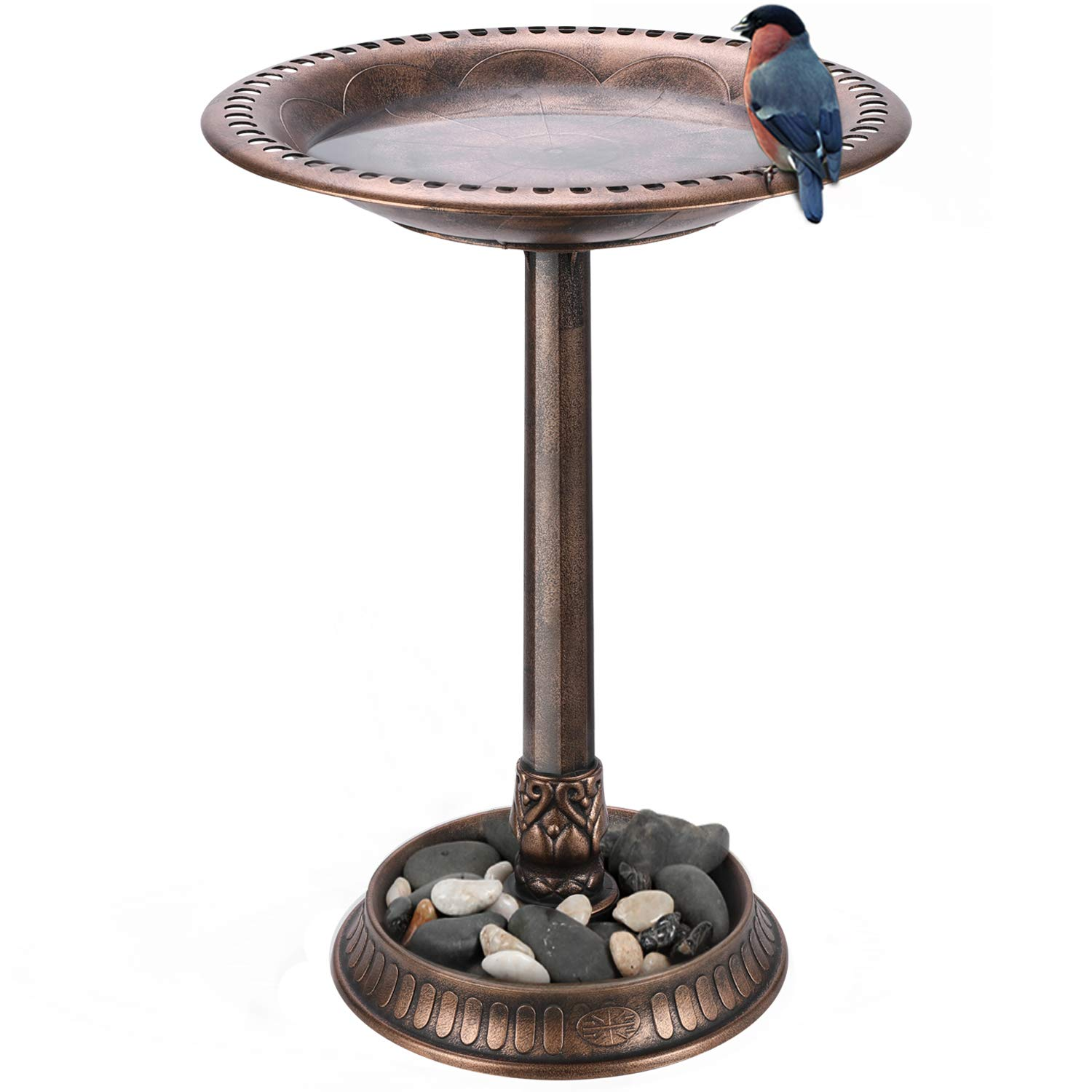 "VIVOSUN 2-in-1 Outdoor Garden Bird Bath with Flower Planter Base, Weather-Resistant Garden Décor, 28"" High Copper"
