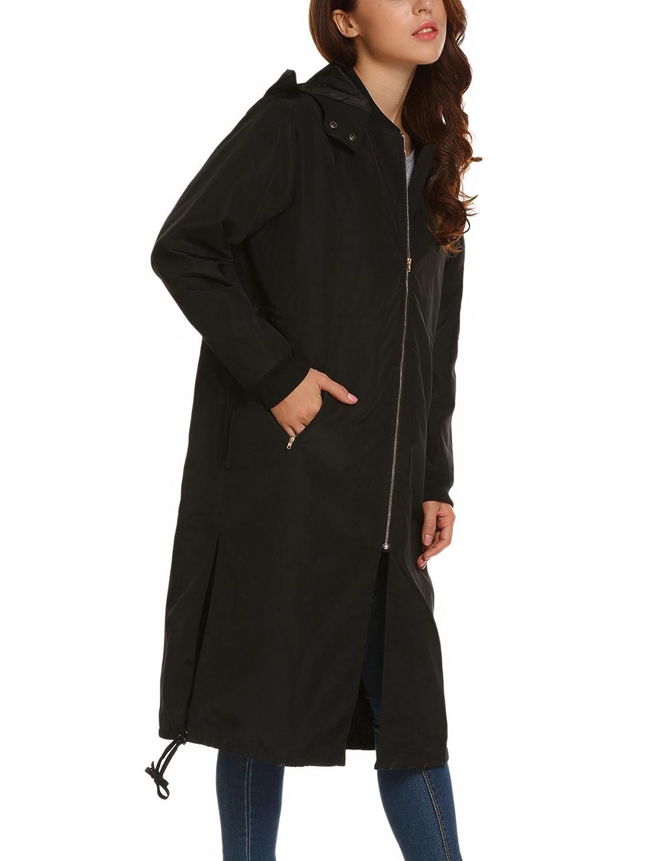 987ec91d06 Aimado Veste Femme Longue Capuche Poche Zip Cordon Imperméable Manteau Femme:  Amazon.fr: Vêtements et accessoires