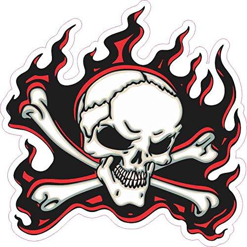 5in x 5in Red Flame Skull Bumper Sticker Car Vinyl Truck Window - Flames Truck Car