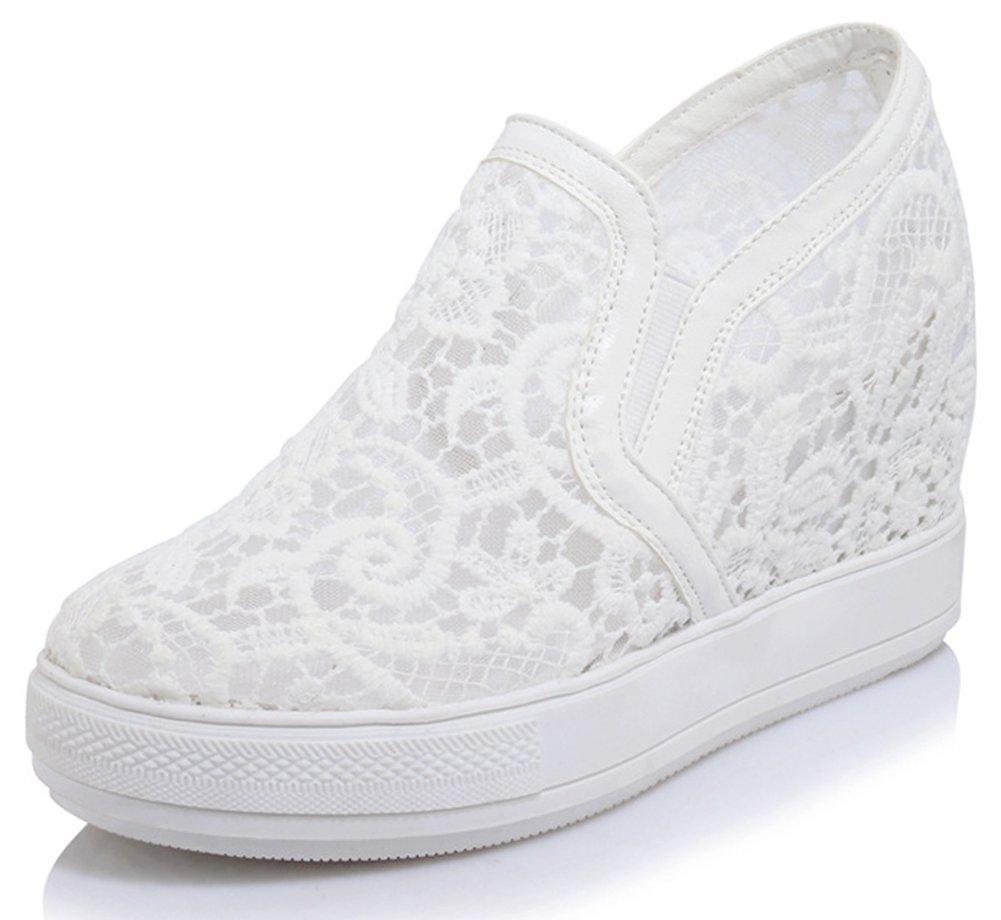 IDIFU Women's Fashion Pull On Round Toe High Wedge Heel Low Top Chic Sneakers (White, 7 B(M) US)