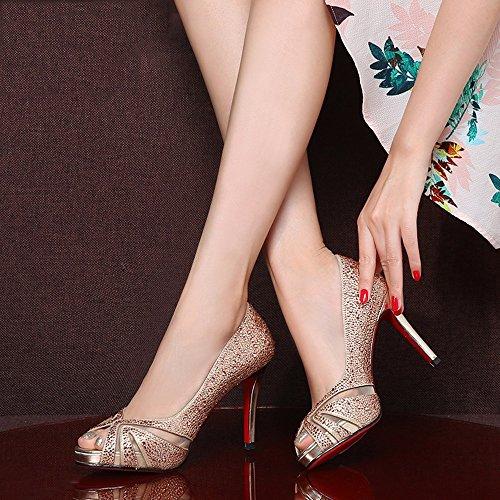 Sandalias de Sandalias Verano Moda Oro para Boda Boca GYHDDP de Zapatos de Pescado Mujer Tacón de de Alto Primavera Zapatos RPw7qd