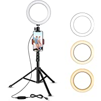 "8"" Selfie Ring Light with Tripod Stand & Cell Phone Holder for Live Stream/Makeup, UBeesize Mini Led Camera Ringlight for YouTube Video/Photography Compatible with iPhone 8 7 6 Plus X 6s SE Android"
