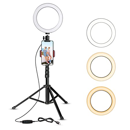 UBeesize Mini Led Camera Ringlight for YouTube Video/Photography Compatible with iPhone Xs Max XR Android