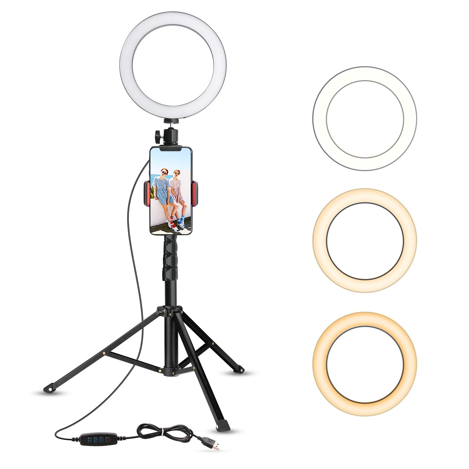 8'' Selfie Ring Light with Tripod Stand & Cell Phone Holder for Live Stream/Makeup, UBeesize Mini Led Camera Ringlight for YouTube Video/Photography Compatible with iPhone Xs Max XR Android (Upgraded)