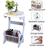 End Table Sofa Side Table Bedside Desk Nightstand with Storage Basket for Living Room Bedroom Office Balcony White Easy to Assemble