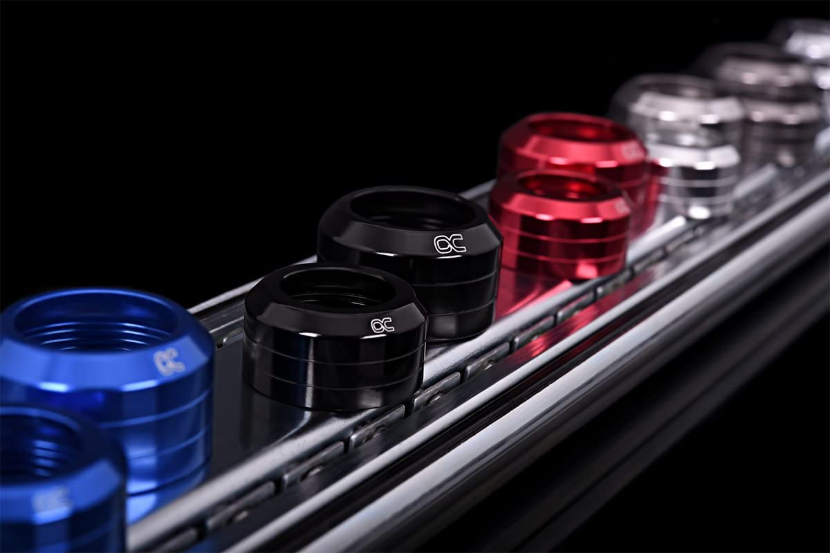Alphacool 17420 Eiszapfen 16mm HardTube Union nut modding Pack 6 deep Black Water Cooling Fittings
