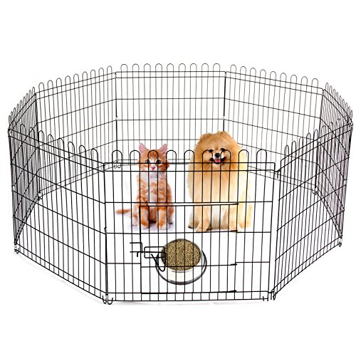AllRight Pet Play Pen Pet Guinea Pig Rabbit Garden Play Pen 8 Panel Folding Metal Fence Cage