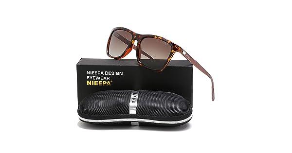 d48917ae8c3 NIEEPA Square Polarized Sunglasses Aluminum Magnesium Temple Retro Driving  Sun Glasses (Brown Lens Leopard Frame)