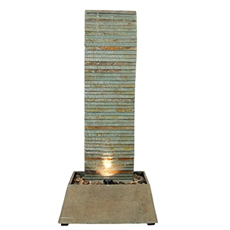 Sunnydaze Spiraling Slate Freestanding Garden Water Fountain With LED  Lights, 49 Inch Tall