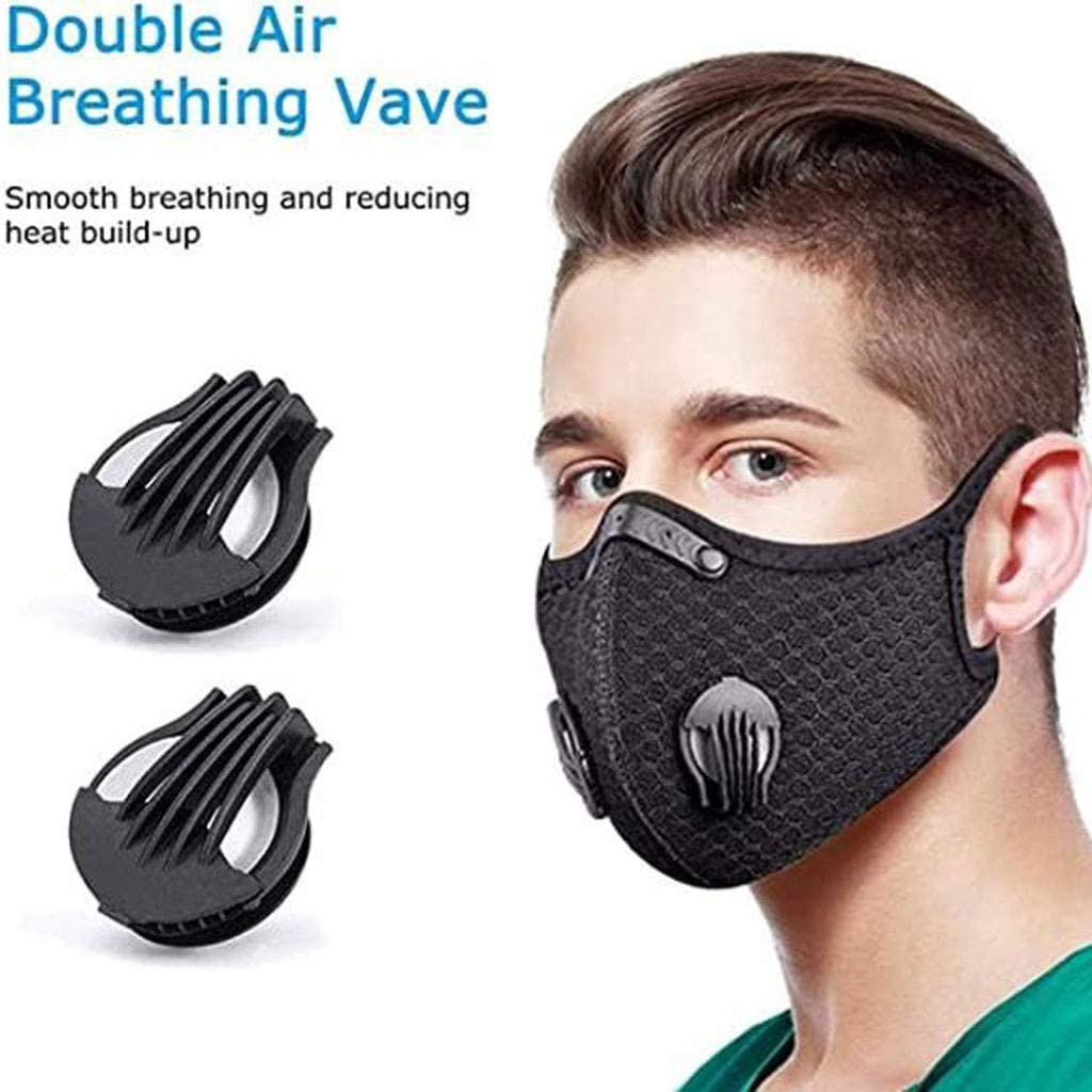 2PC Mouth Nose Covering 8pcs Activated Carbon Filters 4pcs Air Breathing Valve for Outdoor Motorcycling Cycling Running Bicycle Training Unisex Reusable Face Bandanas