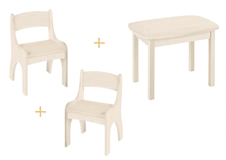 BioKinder 23790 Levin Spar-Set: Kindertisch mit 2 Stühlen Kiefer weiß lasiert