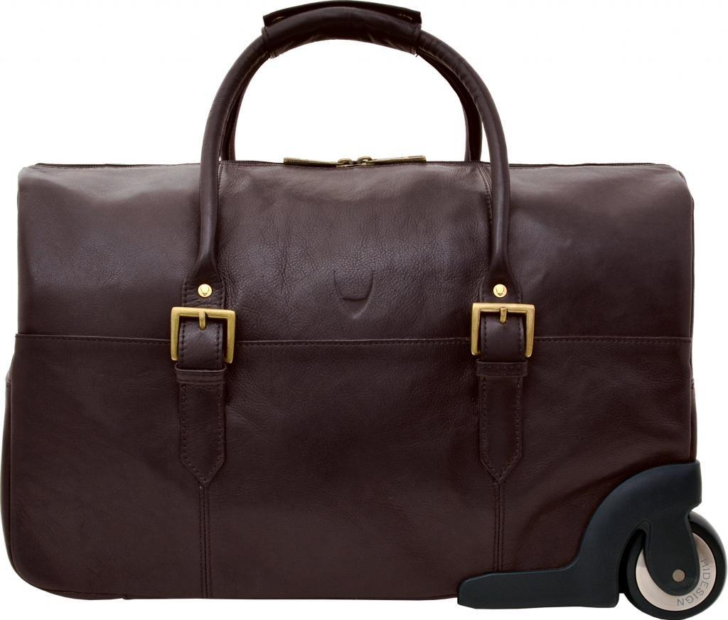 HIDESIGN Charles Leather Wheeled Travel Weekend Luggage Bag, Brown