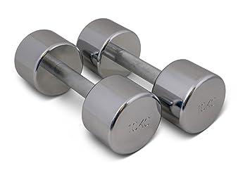 TRENAS Par de mancuernas cromadas - entrenamiento con pesas - 2 x 10,00 kg: Amazon.es: Deportes y aire libre
