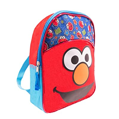 Sesame Street Elmo Toddler Preschool Backpack Set - Bundle Includes Deluxe 11 Inch Sesame Street Elmo Mini Backpack and Stickers (Sesame Street School Supplies) | Kids' Backpacks