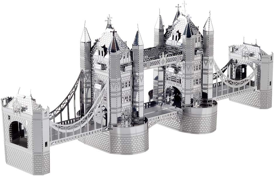 Piececool 3D Metal Model Kits for Adults London Tower Bridge Architecture DIY 3D Metal Jigsaw Puzzle for Adults