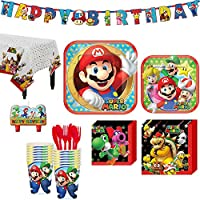 Super Mario Birthday Party Kit, Includes Happy Birthday Banner and Birthday Candles, Serves 16, by Party City