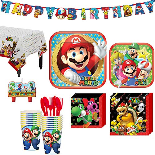 Super Mario Birthday Party Kit, Includes Happy Birthday Banner and Birthday Candles, Serves 16, by Party City -