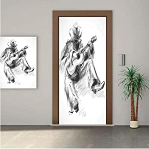 Ylljy00 Music Premium Stickers for Door/Wall/Fridge Home DecorIllustration of a Cowboy Sitting on The Floor and Playing The Guitar Print 32x95 ONE Piece Sticky Mural,Decal,Cover,Skin