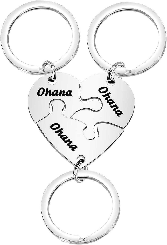 FOTAP Ohana Puzzle Keychain Set 3 Ohana Means Family for Mom Sister BBF Best Friends Family Member Gift