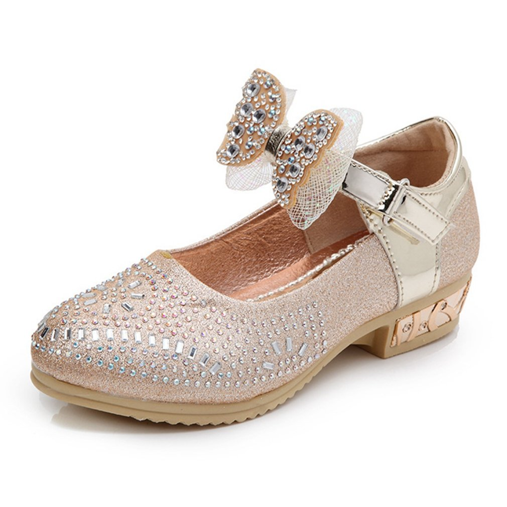 Kids Girls Mary Jane Glitter Bow Low Heels Princess Dress Shoes Wedding Party Shoes