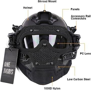 Casco t/áctico para Softair con m/áscara y gafas de protecci/ón de OneTigris