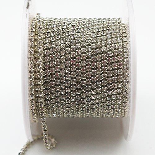 10 Yard 2mm Crystal Rhinestone Close Chain Clear Trim Sewing Craft Silver ()