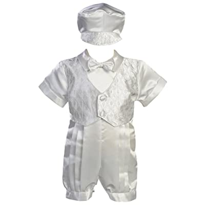 White Satin Christening Baptism Romper with Vest and Matching Hat Medium