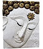 Blue Orchid Hand Carved Wood White Buddha Face Decor Panel Art Carving Wooden Wall Hanging Plaque 15'' x 12''