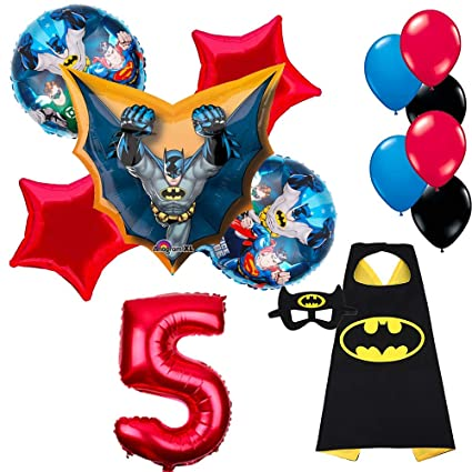 Amazon.com: CuteTrees Super Hero Batman 5º cumpleaños globos ...