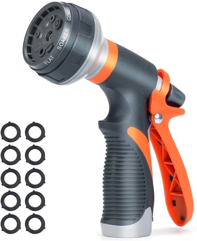 ACCENTER Water Hose Nozzle Spray Hose Nozzle Heavy Duty Plastic Garden Hose Nozzle with 8 Patterns of Spray Perfect for Watering Plants Lawns,Washing Cars,Showering Dogs Orange