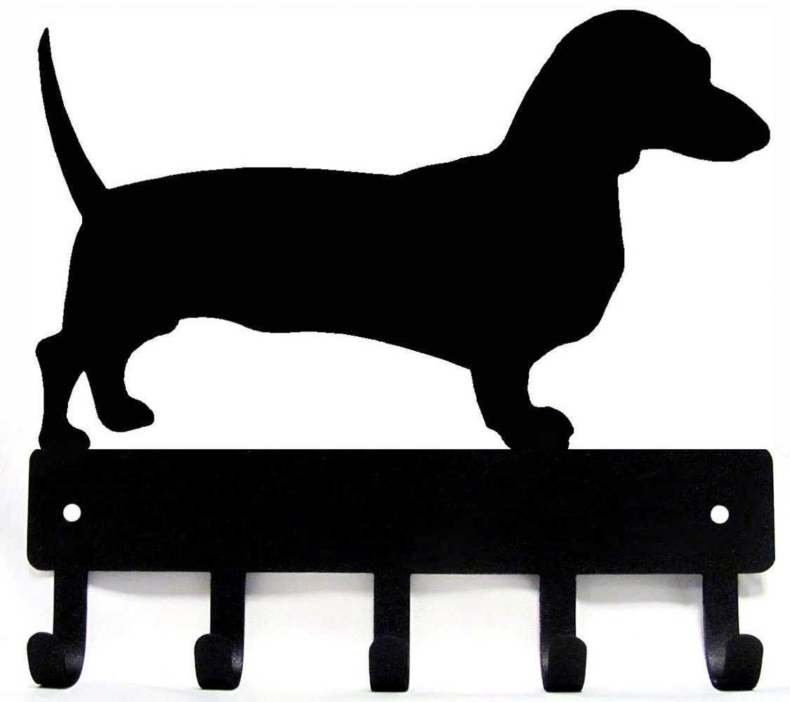 The Metal Peddler Dachshund Key Rack Dog Leash Hanger - SMALL 6 inch wide
