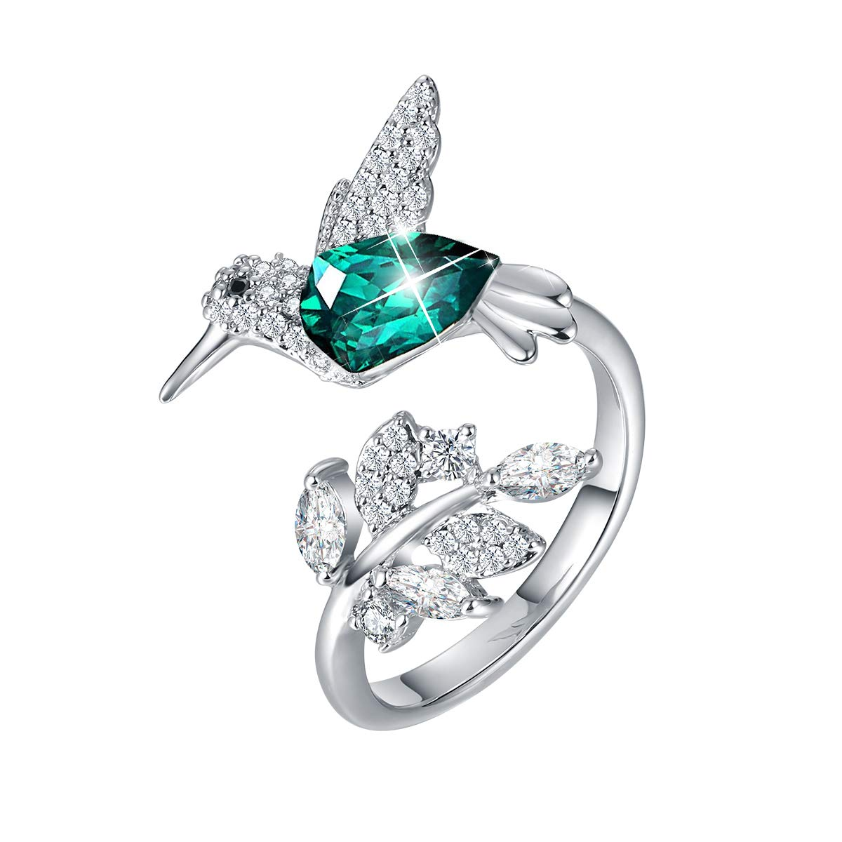 CDE Fine Ring Sterling Silver Hummingbird Open Rings Embellished with Crystals from Swarovski Jewelry Gift for Mothers Day
