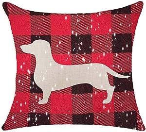 "SLS Red Plaid Christmas Animal Dachshund Cotton Linen Decorative Throw Pillow Case Cushion Cover Lion Piillow case 18"" X18 Throw Pillow Cover (10)"