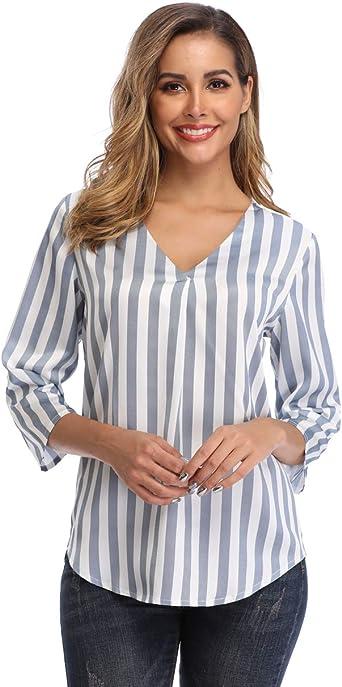 Dilgul Mujer Blusa Cuello V 3/4 Manga Suelta Rayas Verticales Camisetas: Amazon.es: Ropa y accesorios