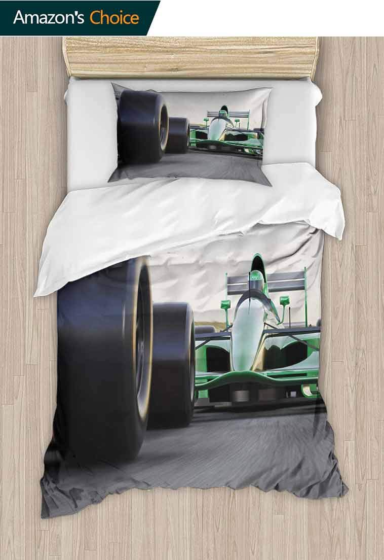 Cars DIY Duvet Cover and Pillowcase Set, Sports Theme Indy Cars on an Asphalt Road with Motion Blur Formula Race Print, 2 Piece Bedding Quilt Coverlets - 100% Cotton Bed Quilts Coverlet