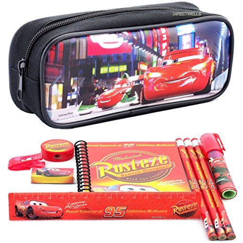 Disney Car Black Pencil Case and Stationery Set ()
