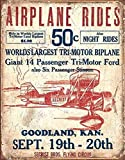 Secrist Flying Circus - Airplane Rides Tin Sign 13 x 16in