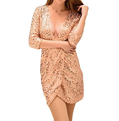 e19b82e05191 Firheas Girls Deep V Neck Pencil Bodycon Long Sleeve Sexy Party Short Mini  Sequin Glitter Dress at Amazon Women's Clothing store: