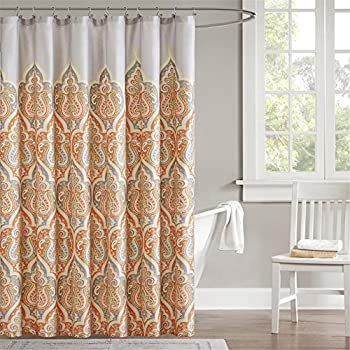 Madison Park MP70 1733 Nisha Shower Curtain 72x72  Orange Amazon com Bazaar Medallion Brown Spice