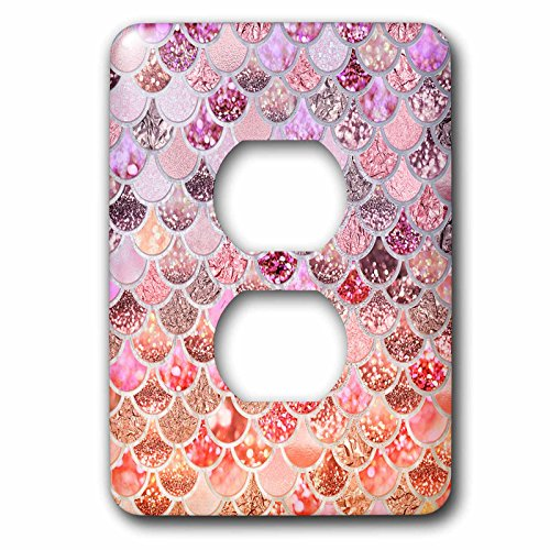 3dRose Uta Naumann Faux Glitter Pattern - Image of Orange Rose gold Shiny Luxury Elegant Mermaid Scales Glitter - Light Switch Covers - 2 plug outlet cover (lsp_275451_6) by 3dRose (Image #1)