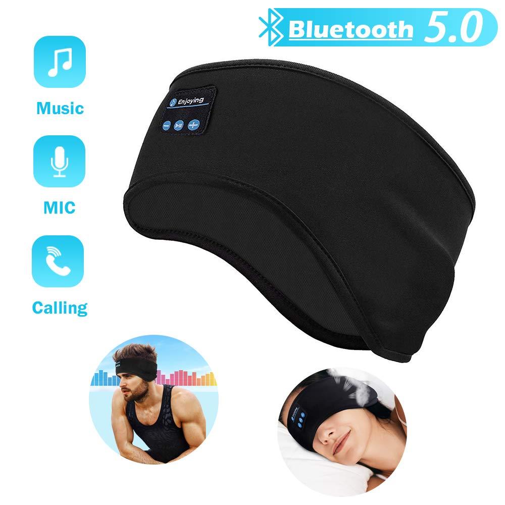 Sleep Headphones Bluetooth Headband, Soft Sleeping Bluetooth 5.0 Wireless Music Sport Headbands Eye Mask Long Time Play Sleeping Headsets with Built -in Speakers for Workout, Running, Yoga,Air Travel