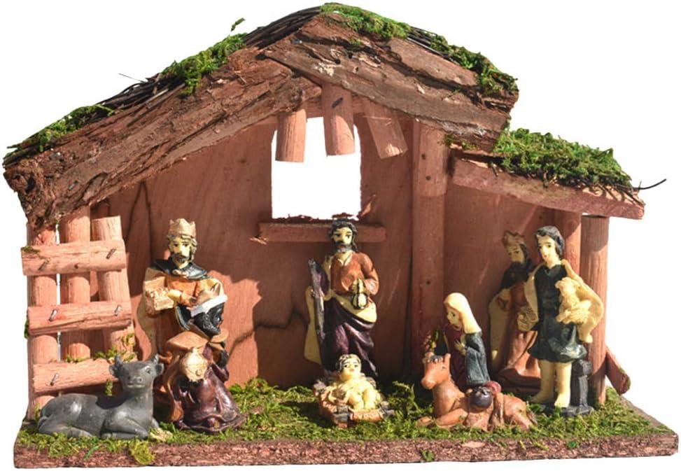 Xmas Nativity Set Traditional Christmas Figures Decoration 7.5 cm Multicolour