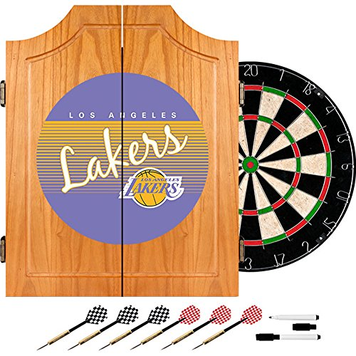 NBA Los Angeles Lakers Wood Dart Cabinet, One Size, Brown by Trademark Global