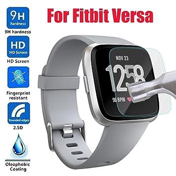 Protector de pantalla para reloj inteligente Fitbit Versa, VNEIRW 9H cristal templado 9LCD TPU HD
