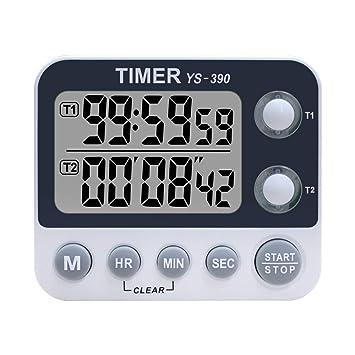Temporizador Digital de Cocina Dual - XREXS Temporizador de Volumen de Alarma Ajustable, Temporizador de Cocina, Cronómetro, Pantalla LCD Grande ...