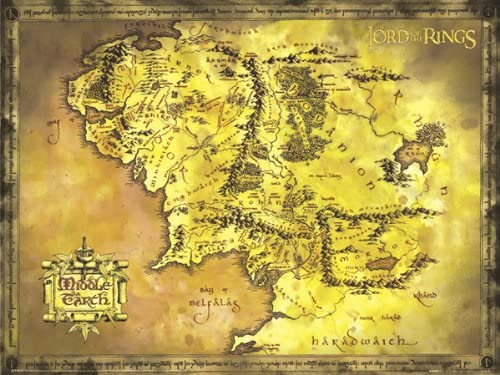 Amazon Com The Lord Of The Rings Giant Movie Poster Map Of Middle Earth Size 53 X 39 Lord Of The Rings Wall Map Cloth Posters Prints