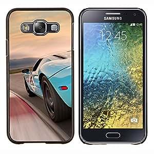 TECHCASE---Cubierta de la caja de protección para la piel dura ** Samsung Galaxy E5 E500 ** --Azul Racing Car